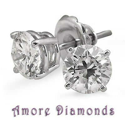 2 ct H VS round natural diamond solitaire 4 prong stud earrings 14k white gold