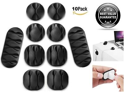 10x Cable Management Clips Reusable Self-Adhesive Wire Organizer Cord Holder