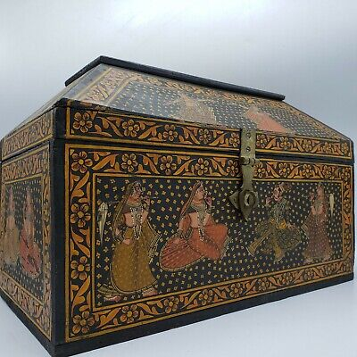 Vintage Wooden Storage Box with Clasp - Indian Design w/ Dancing Women ~ 15.5""