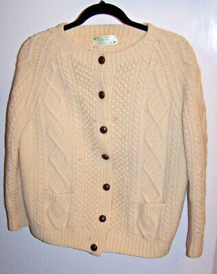 88ed1ee39e Irish Wool Fisherman Cardigan Ivory Handmade Cable Knit Sweater Womens Sz  S M