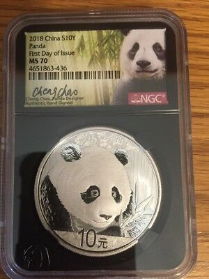 2018 China S10Y Panda First Day Issue Ms70 Signed By Cheng Chao