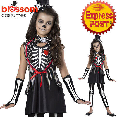 CK1407 Skeleton Cutie Jack Girls Day of the Dead Halloween Bone Costume Outfit