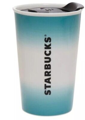 Starbucks Ceramic Travel Mug Tumbler With Lid 8oz Coffee Cup Teal And White Nwt