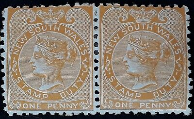 1881- NSW Australia Pair of 1d Orange Stamp Duty Stamps Mint Full Gum
