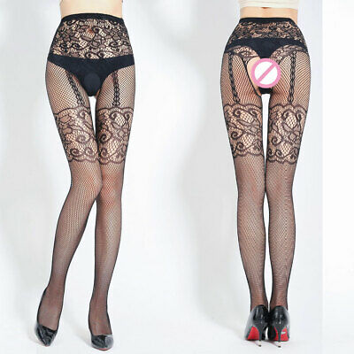 20dd5244551bf Womens Open Crotch Fishnet Hosiery Pantyhose Sheer Mesh Footed Tights  Lingerie