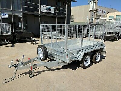 """8x5 TANDEM AXLE TRAILER 12"""" SIDES NEW WHEELS NEW TYRES 3FT CAGE"""