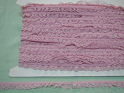 Gathered Narrow Dusty Pink Lace X 10 Mts (1249)
