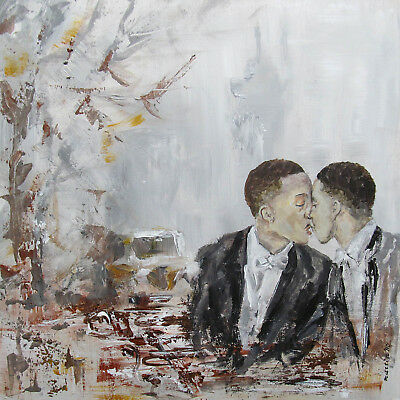 ORIGINAL art painting two men man male cityscape gay couple kiss embrace NYC