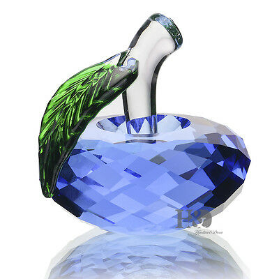 Glass Paperweight Apple Blue Crystal Figurine Decor Mother's Day Boxed Gift 40mm