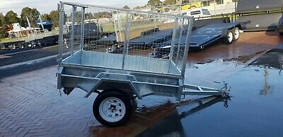 7x5 BOX MANUAL TIPPER TRAILER GALVANISED HEAVY DUTY SINGLE AXLE 2FT CAGE