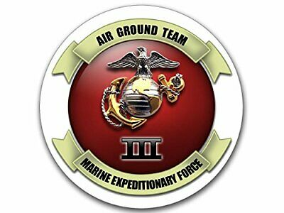 4x4 inch Round Team Marine Expeditionary Force Sticker (Logo USMC US Insignia)