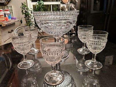 Early 1800s Antique Flint Glass Eggnog Bowl With  6 Original Cups