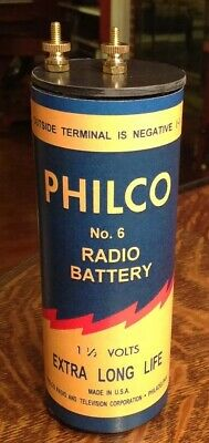 Antique Refillable #6 Philco Dry Cell Battery Telephone, Radio, Lantern