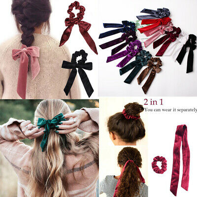 Soft Velvet Hair Scrunchie Girls Ponytail Holder Bow Hair Ties Elastic Hair Band