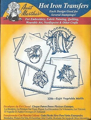 "AUNT MARTHA'S HOT IRON TRANSFERS  ""  8 Vegetable  Motifs # 3286"