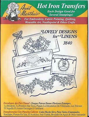 """AUNT MARTHA'S HOT IRON TRANSFERS  """" Lovely Designs for Linens """" 3840"""