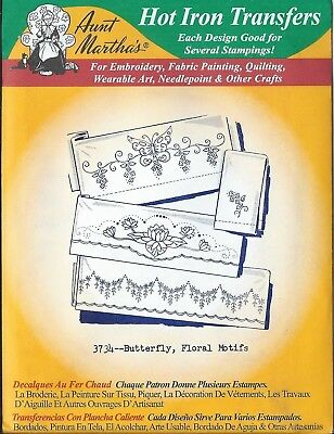 "AUNT MARTHA'S HOT IRON TRANSFERS  "" Butterfly, Floral Motifs "" 3734"