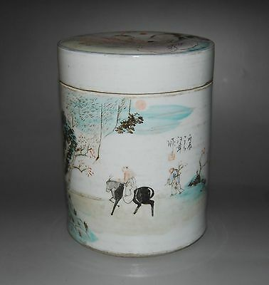 Chinese Famille Rose Porcelain Cylindrical Vase With Cover Person landscape # 1