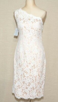 007d5bb0 Eliza J One-Shoulder Floral Lace Sheath Dress In White/Tan $158 US10 Fits