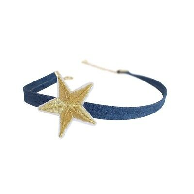 Handmade Embroidered Gold Color Five-pointed Star Denim Choker Necklaces Gift