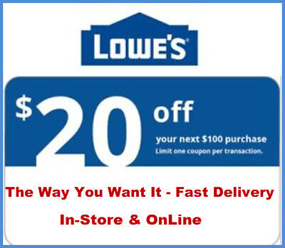 1x Lowes $20 off $100 Getcoupon Fast Now