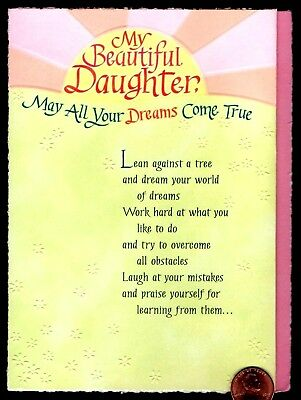 BLUE MOUNTAIN My Beautiful Daughter May All Your Dreams EMBOSSED Greeting Card