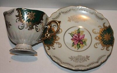 Tea Cup and Saucer Royal Halsey Very Fine Bone China Floral Design