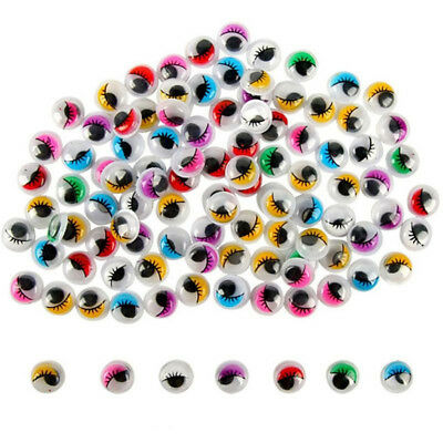 KF_ Colorful Round Self-adhesive Wiggly Googly Eyes with Eyelash For Doll Toy