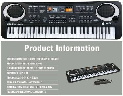 61 Key Music Electronic Keyboard Electric Digital Piano Organ with Microphone US