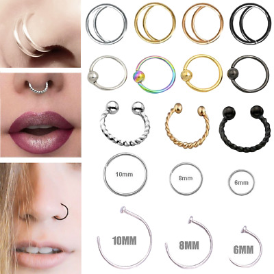 UK Nose Ring Small Thin Steel Silver Hoop 0.8mm Cartilage Piercing Tragus Helix