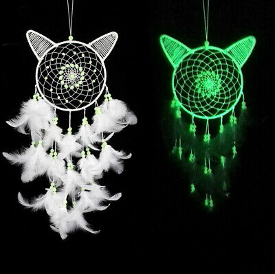 NEW Glow in the Dark Handmade Cat Dream Catcher Feather Wall Hanging Decoration