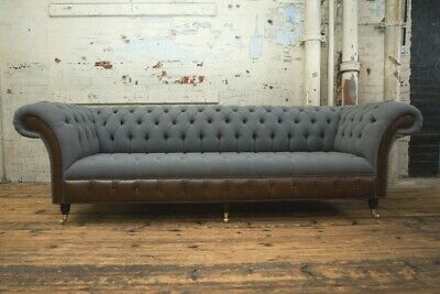 Handmade 4 Seater Slate Grey Wool Chesterfield Sofa, Antique Leather Details