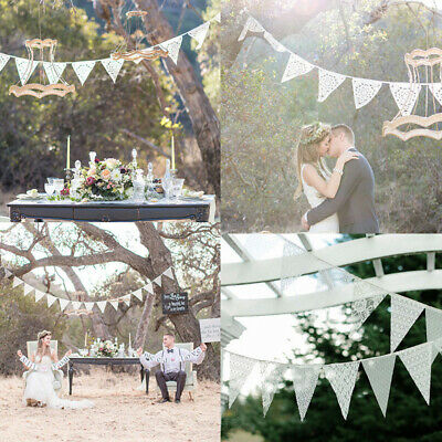 3.2M 11 Flags Lace Banner Party Wedding White Decorative Lace Bunting Home Decor