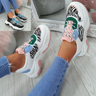 Womens Ladies Chunky Trainers Sneakers Lace Up Zebra Pattern Shoes Size