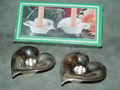 Towle Silver Plated Valentine's Day Heart Candlestick Holders