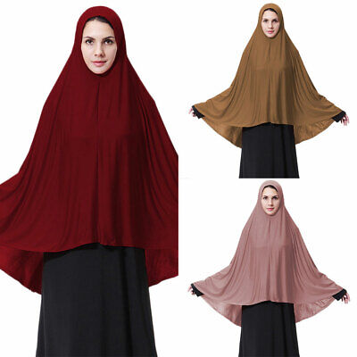 Muslim Women Prayer Long Scarf Hijab Jilbab Islamic Lady Large Overhead Clothes