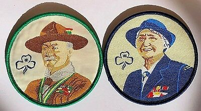 Lord & Lady Baden-Powell, 2 portrait Guide badges; Scout & Girl Guides Founders