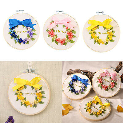 Ribbon Embroidery Kit Fruit Pattern For Beginners Adults DIY Home Wall Decor