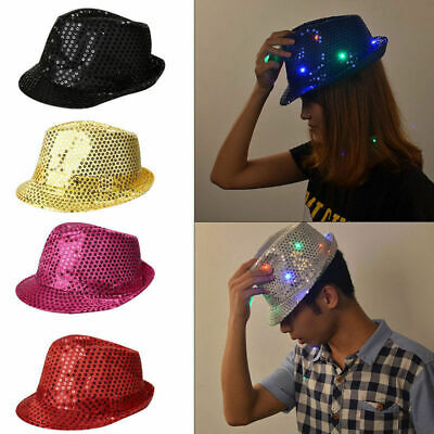 Flashing Light Up Led Fedora Trilby Sequin Unisex Fancy Dress Dance Party Hat UK