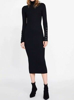 abc931e432 ZARA WOMAN NEW 2019 Black Knit Long Ribbed Dress Ref  3471 005 ...