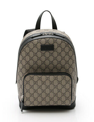 GUCCI GG Supreme canvas small backpack PVC leather beige black b8f9053574df0