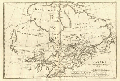 ANTIQUE 1790 BONNE map USA North America Canada Mexico Louisiana ...