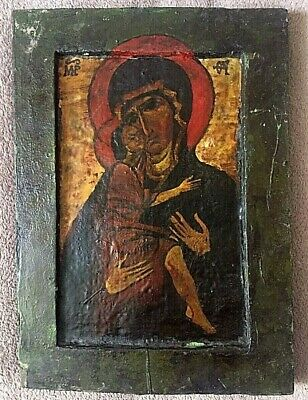 Antique 19th C Hand Oil Painted Russian Orthodox Wooden Icon Mother Of God