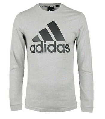 Adidas Men Must Have BOS Shirts L/S Gray Running Top Tee Jersey GYM Shirt DT9939