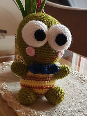 """HIGH QUALITY HAND KNITTED FROG TOY 22cm/8"""" PERFECT TODDLERS GIFT"""