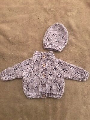 9d6efc22e39c Hand Knitted Light Purple Early / Premature Baby Girl / Boy Cardigan and Hat