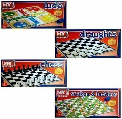 Traditional Classic Family Board Games Chess Ludo Snakes & Ladders Draughts