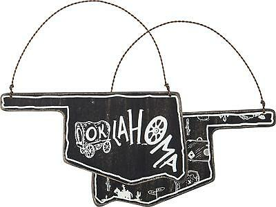 Black Wooden OKLAHOMA State Shape Ornament - Christmas or Year Round NWT