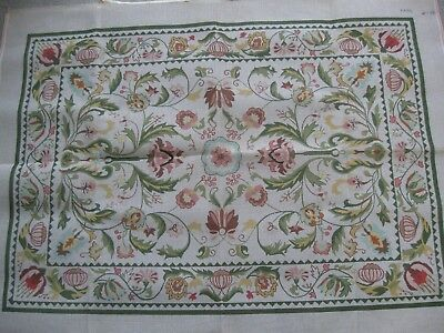 Handpainted Green Mauve JACOBEAN FLORAL Needlepoint Rug Canvas  46X33 NEW