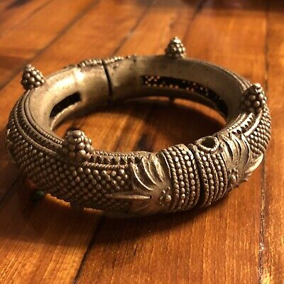 Medieval Antique Cuff Bracelet Jewelry Artifact Silver Tone Ottoman Islamic 1